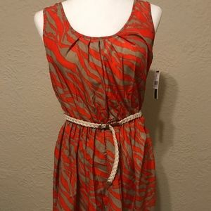 NWT A.Byer Scoopneck Printed Dress with Belt